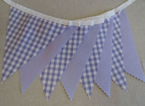 BUNTING Plain Lilac and Lilac Gingham - 3m/10ft or 5m/16ft